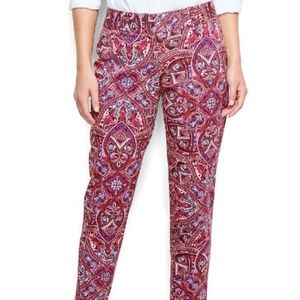 Lands end berry rouge print twill pants size 10
